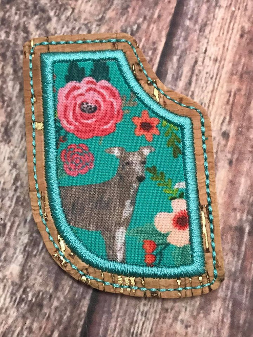 Corner Bookmark - Hound and Roses Turquoise Brindle Hound