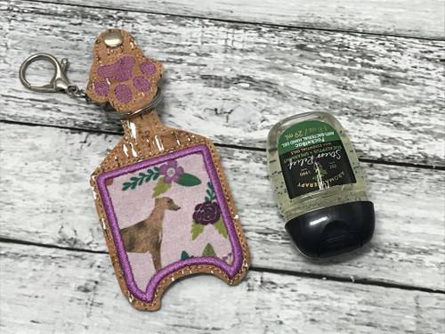 Sanitizer Holder - 1oz Hound and Roses Lavender Brindle Hound