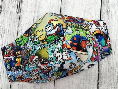 Face Mask - Christmas Town Sandy Claws Sleigh RARE Fabric MEDIUM