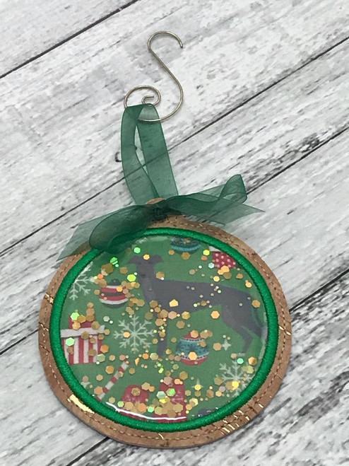 Ornament Glitter Christmas Hound with Swirl Hanger