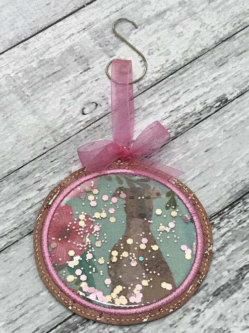 Ornament Glitter Floral Hound with Swirl Hanger