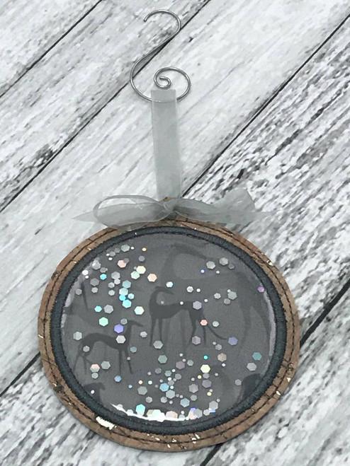 Ornament Glitter Greyhound Shadows Grey with Swirl Hanger