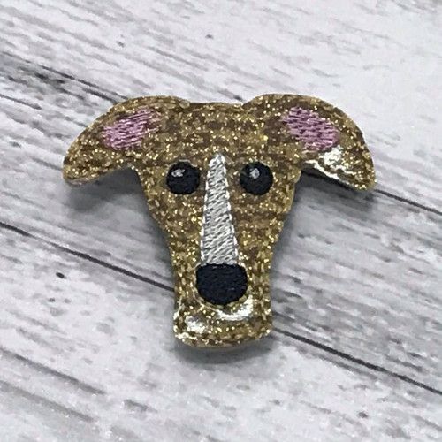 Magnet - Houndie Head Gold Brindle Glitter with Stripe