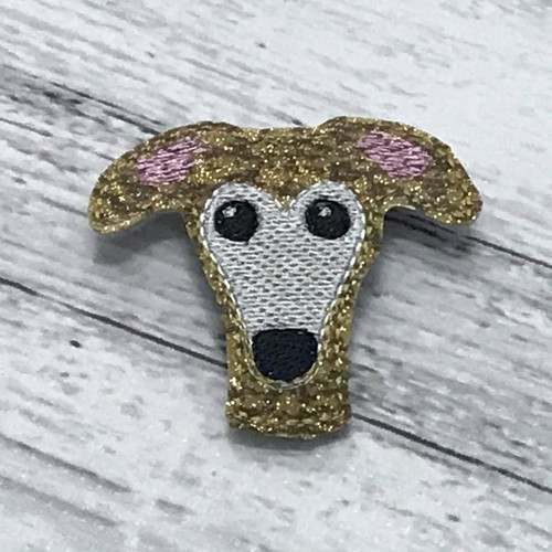 Magnet - Houndie Head Gold Brindle Glitter with Mask