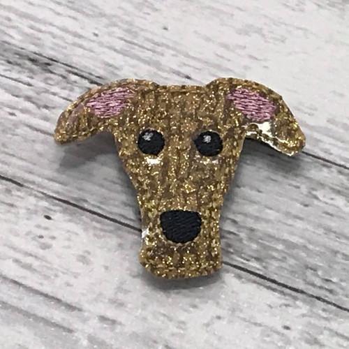 Magnet - Houndie Head Gold Brindle Glitter