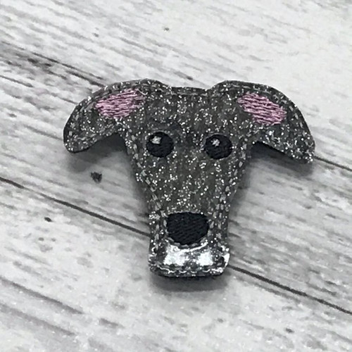 Magnet - Houndie Head Grey Brindle Glitter