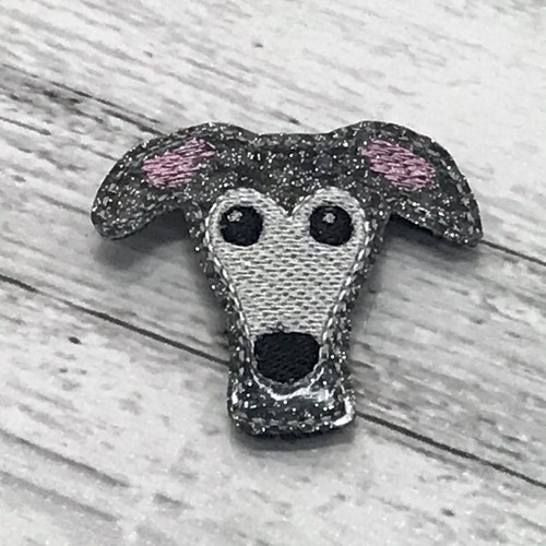 Magnet - Houndie Head Grey Brindle Glitter with Mask