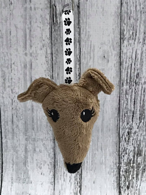 Houndie Head Ornament Mocha with Eyelashes