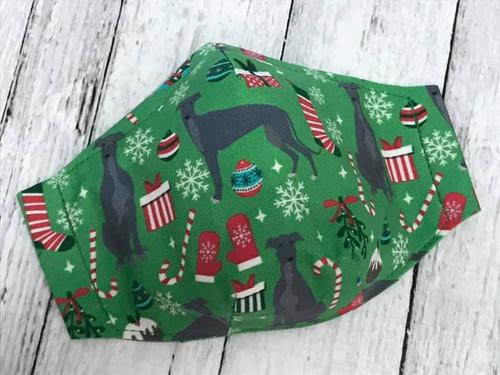 Face Mask - Christmas Hounds Green MEDIUM