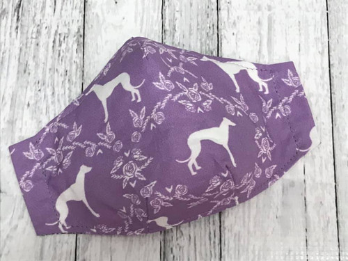 Face Mask - Silhouette Hounds and Roses Orchid MEDIUM