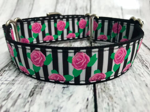 Premade Roses and Stripes 1 Inch Martingale 9-12""