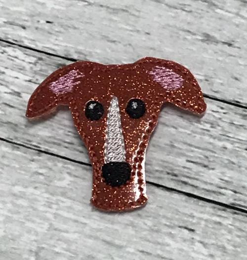 Magnet - Houndie Head Rust Glitter with Stripe