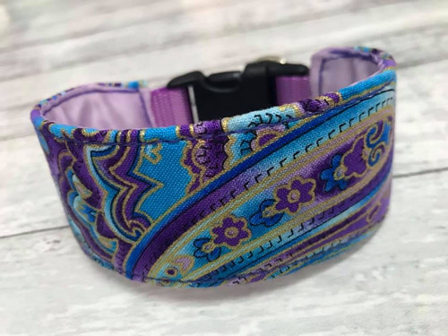Premade Blue Purple Paisley Hound Collar with Quick Snap 9""