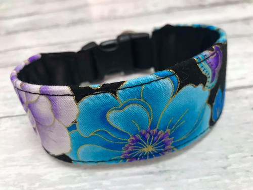 Premade Blue Purple Floral Hound Collar with Quick Snap 10""