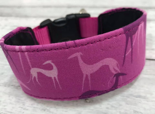 Premade Greyhound Shadows Magenta Hound Collar with Quick Snap 10""