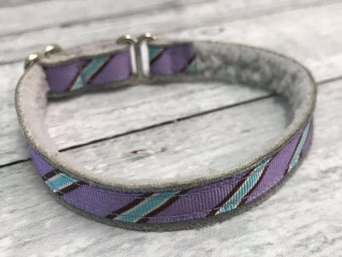 "Premade Diagonal Stripes 1/2"" Shaka Soft Lightweight Tag Collar 6-9"""