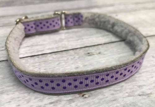 "Premade Swiss Dots Lavender 1/2"" Shaka Soft Lightweight Tag Collar 7-11"""