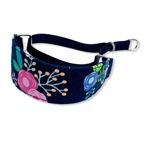 """Navy Floral Walking Hound Collar  8-12"""""""