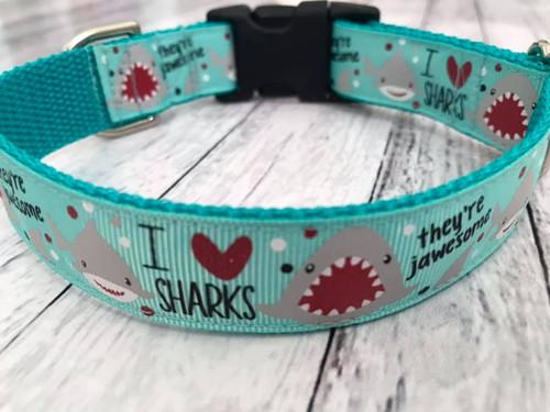 "I <3 Sharks Aqua 1 Inch Side Release 10-14"" UNLINED"