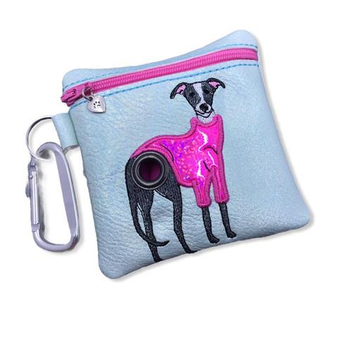 Poopie Pouch - Greyhound in Hot Pink Sweater Metallic Honeydew LINED