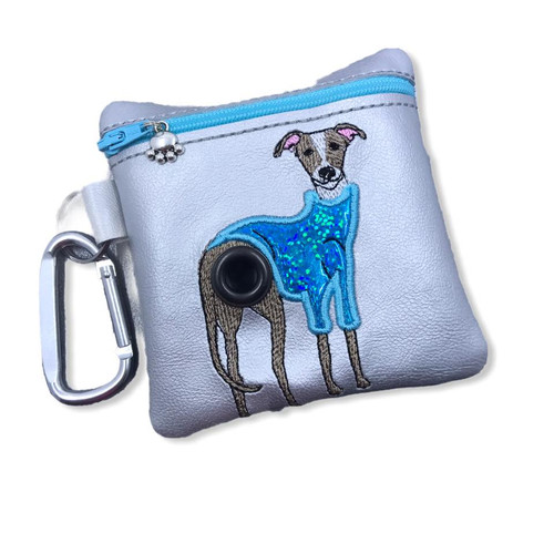 Poopie Pouch - Greyhound Whippet  in Teal Sweater Silver LINED
