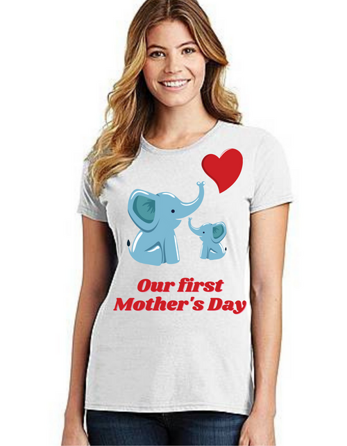 Our First Mother's day Mama Tshirt Mom Life T-Shirt Short Sleeve Summer Mommy Tshirts