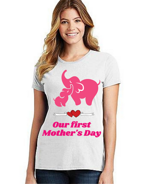 Pink Our First Mother's day Mama Tshirt Mom Life T-Shirt Short Sleeve Summer Mommy Tshirts