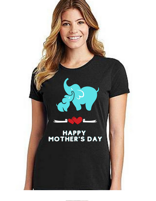 Elephant Happy Mother's day Mama Tshirt Mom Life T-Shirt Short Sleeve Summer Mommy Tshirts