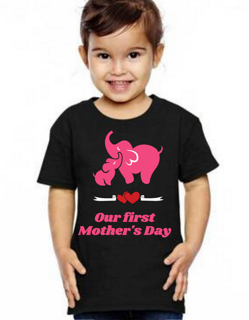 Pink letters Kids Our First Mother's day tshirts  kids Tshirt