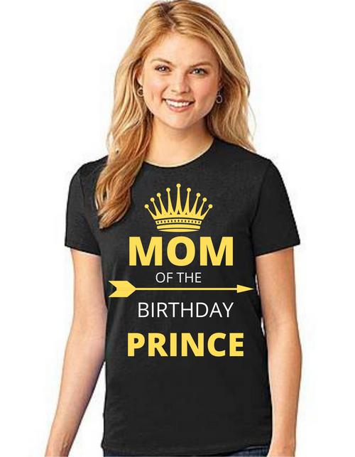 Mom of the Birthday Prince Tshirts Mom Life T-Shirt Short Sleeve Summer Mommy Tshirts