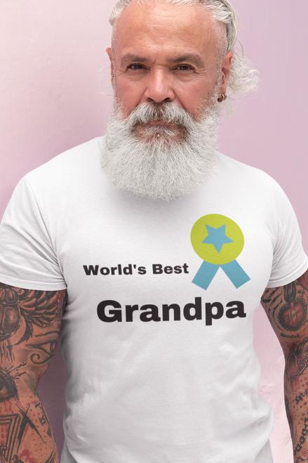 World's Best Grandpa Tshirt  Grandpa  with Batch Life T-Shirt Short Sleeve Summer  Men tshirts