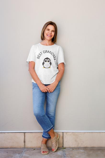 Roma Best Grandma tshirt with Penguin design, Gradma  Tshirt Mom Life T-Shirt Short Sleeve Summer Mommy Tshirts, Women tshirts
