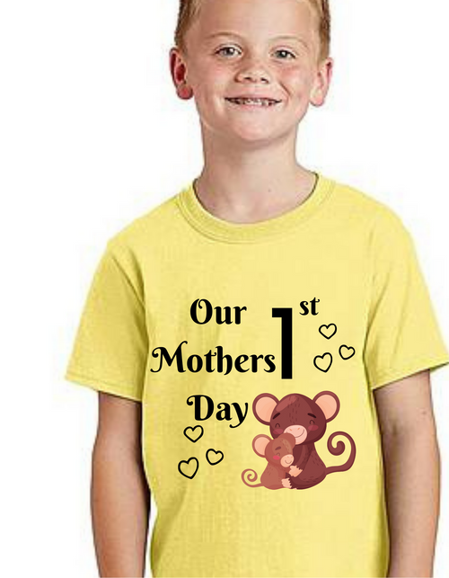 Our  First Mother's Day Bear baby kids Tshirt (Unisex), Tshirts for Boy Tshirts for girls baby