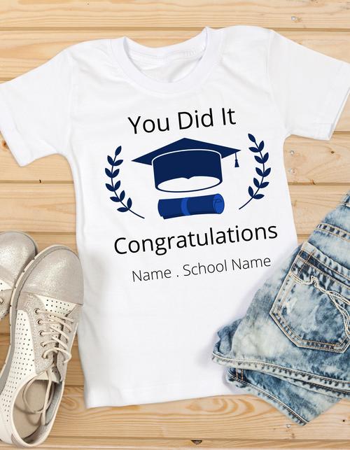 Roma Graduation T-shirt for girls You did it, Summer tshirts shirt sleeves