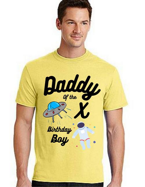 Daddy of the Birthday Boy Astronaut theme Tshirt for Dad Life,Dad of birthday Prince Tshirt T-Shirt Short Sleeve Men Summer tshirts
