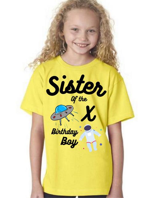 Sister of the Birthday Boy Astronaut theme  tshirts  kids Tshirt , bday tshirts,girls tshists