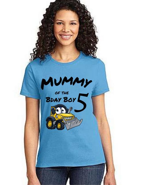 Mommy of the Birthday Boy construction  theme, Tshirts Mom Life T-Shirt Short Sleeve Summer Mommy Tshirts