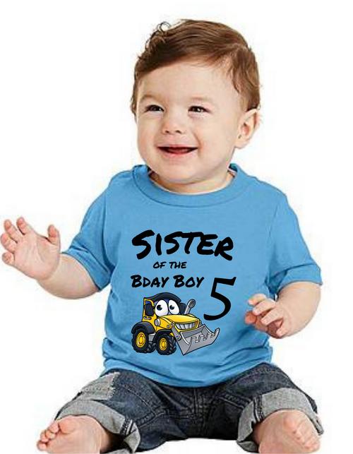 Sister of the Birthday bday boy Construction theme tshirts  kids Tshirt , bday tshirts,girls tshists
