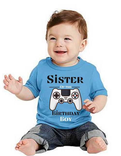 Sister of the Birthday Boy Game theme tshirts  kids Tshirt , bday tshirts,girls tshists