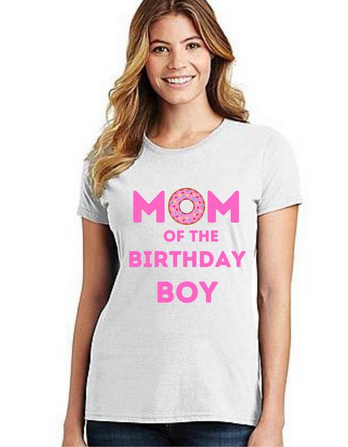 Mommy of the Birthday boy Donut  them, Tshirts Mom Life T-Shirt Short Sleeve Summer Mommy Tshirts