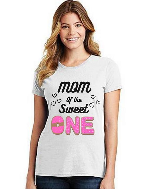 Mommy of the Birthday Girl Donut themeT-shirts Mom Life T-Shirt Short Sleeve Summer Mommy Tshirts