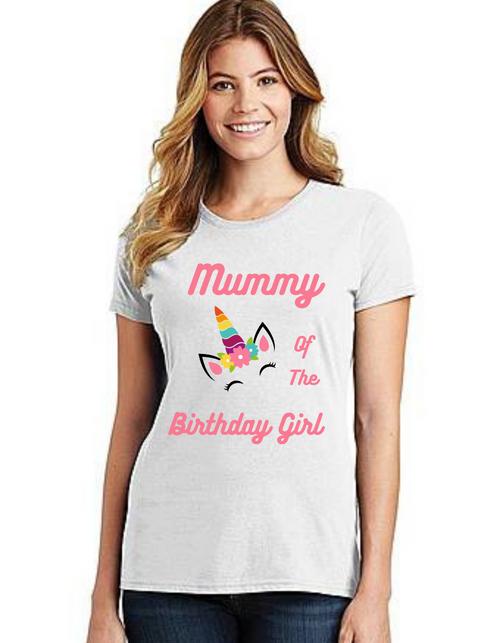 Mommy of the Birthday Girl Unicorn theme ,Tshirts Mom Life T-Shirt Short Sleeve Summer Mommy Tshirts