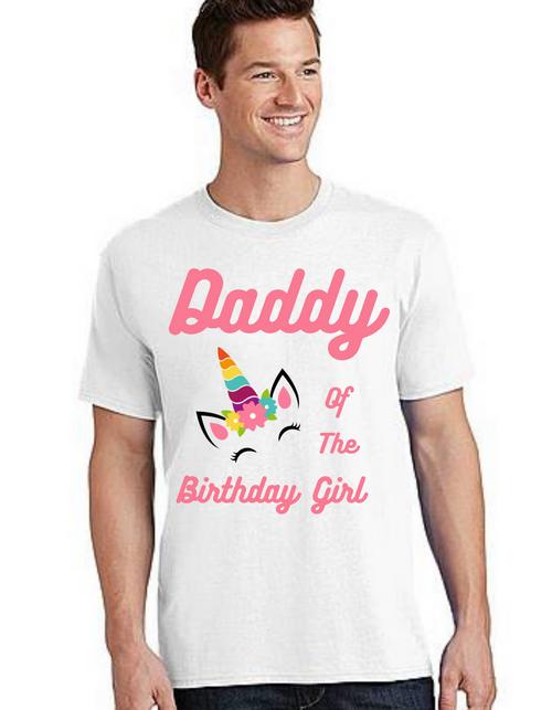 Dad of the birthday Girl Tshirt unicorn theme  for Dad Life,Dad of birthday Princess Tshirt T-Shirt Short Sleeve Men Summer tshirts