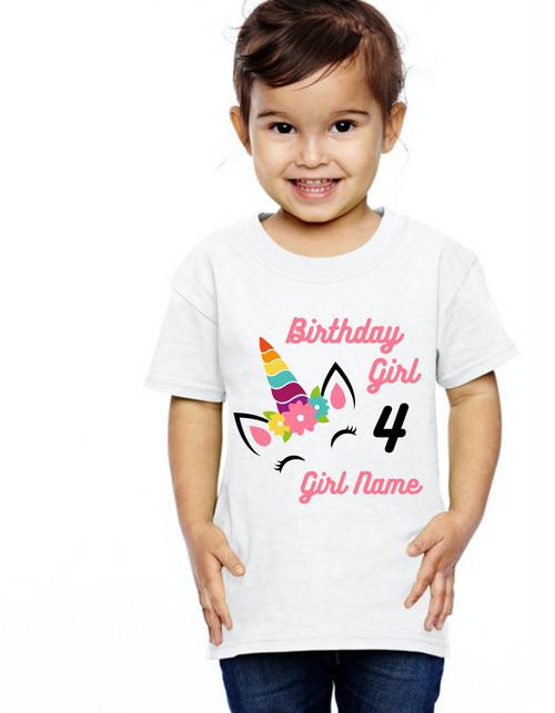 Roma Birthday GIRL tshirt for Unicorn theme  kids Tshirt , bday tshirts,girls tshists