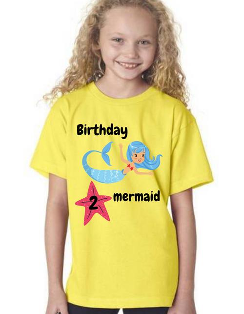 Roma Birthday GIRL tshirt for Mermaid theme  kids Tshirt , bday tshirts,girls tshists