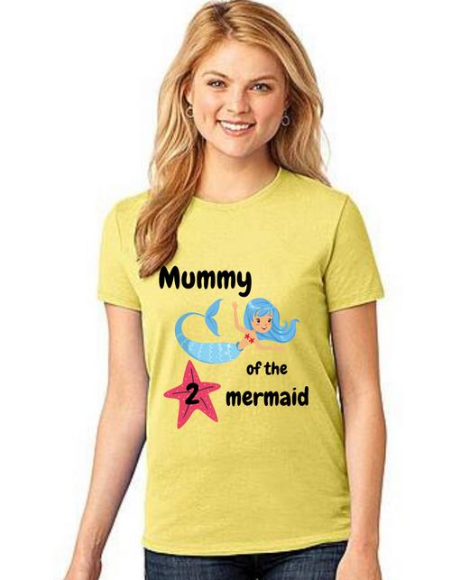 Mommy of the Birthday Girl Mermaid theme ,Tshirts Mom Life T-Shirt Short Sleeve Summer Mommy Tshirts