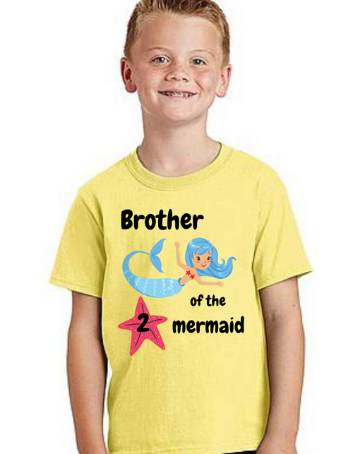 Brother of Birthday Girl  Mermaid  theme T-shirts kids Tshirt , bday tshirts, Boy's tshirts