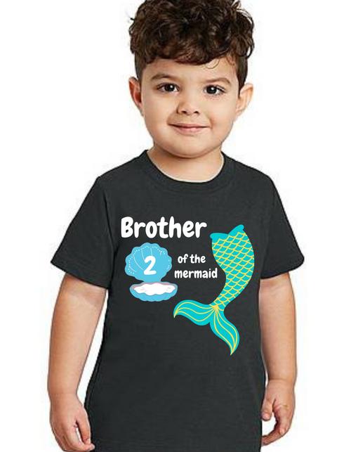 Brother of Birthday Girl  Mermaid tail theme T-shirts kids Tshirt , bday tshirts, Boy's tshirts