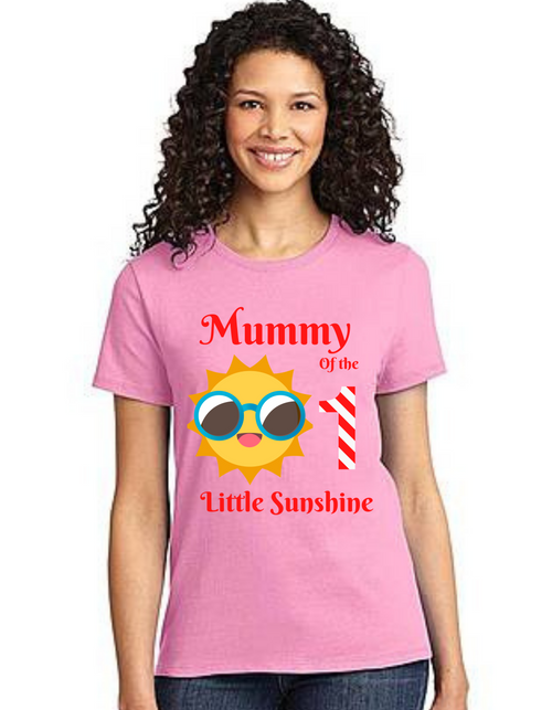 Mommy of the Birthday Girl Sunshine theme ,Tshirts Mom Life T-Shirt Short Sleeve Summer Mommy Tshirts