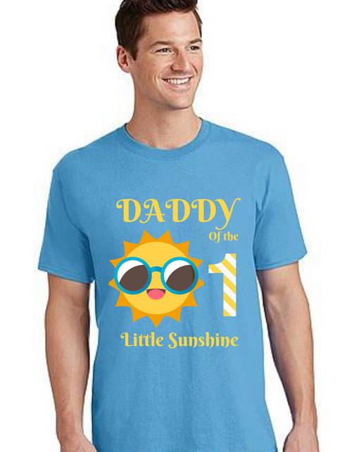 Dad of the birthday Girl Tshirt Sunshine theme  for Dad Life,Dad of birthday Princess Tshirt T-Shirt Short Sleeve Men Summer tshirts